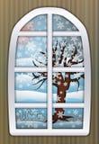 季节冬时窗口,传染媒介 免版税库存照片