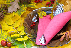 季节性党的秋天主题的表设置安排 图库摄影