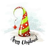 季节性动机、抽象圣诞树与珍珠和文本让它下雪,导航例证 皇族释放例证