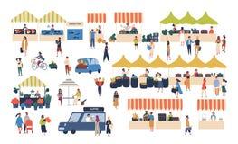 季节性室外街市 走在柜台、买的蔬菜、水果、肉和其他农夫之间的人们 向量例证