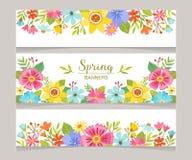 季节性春天装饰横幅集合 库存例证