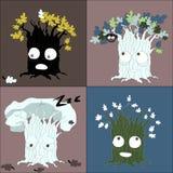 季节性树改变传染媒介字符 库存照片