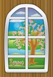 季节春天窗口,传染媒介 免版税库存图片