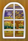季节秋天时间窗口,传染媒介 免版税库存照片