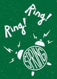 季节葡萄酒印刷海报 圆环圆环,春天 闹钟 字法 免版税库存图片
