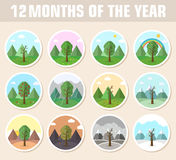 季节象套自然树背景 免版税库存图片