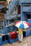 季风在印度,蓝色城市乔德普尔城 免版税库存图片