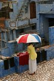 季风在印度,蓝色城市乔德普尔城 库存照片