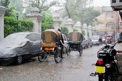季风雨在印度 免版税库存图片