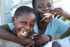 孤儿在Mfangano海岛,肯尼亚上的一所孤儿住宿学校 图库摄影