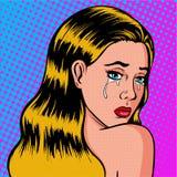 孤独和哀伤的女孩是哭泣的流行艺术 女儿哀悼 库存照片