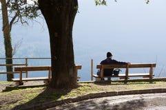 孤独的人坐长凳有山的美丽的景色 公园和森林 免版税库存图片