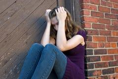 孤独的十几岁的女孩 库存照片