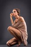 孤独的可爱的妇女 免版税图库摄影