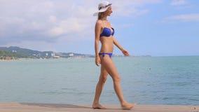 孤独的女孩沿海滩走并且看天际 股票视频