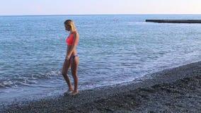 孤独的女孩沿海滩走并且看天际 股票录像