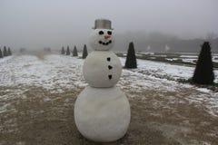 孤独的微笑的雪人有在他的头的一个罐的和用在他的鼻子的一棵红萝卜在雾 图库摄影