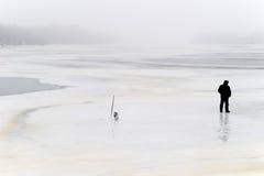 孤独的渔夫 免版税图库摄影