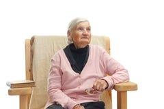 孤独的年长妇女 免版税图库摄影