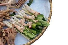 孤立在竹方平组织的香料草本 免版税库存照片