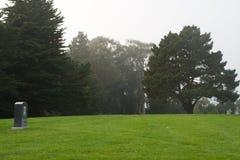 孤立墓碑在公墓 免版税库存图片