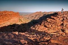 孤立女性远足者横跨早晨光的Canyon国王看 库存图片
