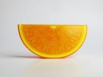 孤立形象逗人喜爱的塑料橙色支柱装饰 免版税库存照片