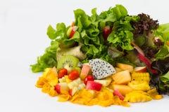 孤立有机水果沙拉 免版税库存图片