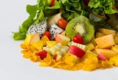 孤立有机水果沙拉 免版税图库摄影