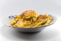 孤立煎蛋卷用在泰国的青葱。 免版税库存照片