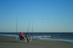 孤立的渔夫 库存图片