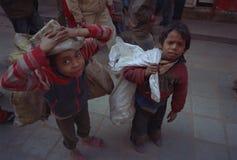 孤立的街道孩子加德满都尼泊尔 免版税库存照片