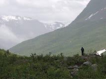孤立的远足者 免版税库存图片
