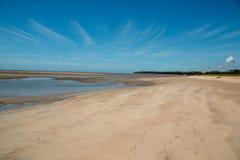 孤立舒展海滩处于低潮中 免版税图库摄影