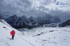 孤立远足者在一个多雪的寒带草原 免版税库存照片