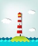 孤零零海岛灯塔 库存图片