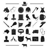 医学、历史、旅游业和其他网象在黑样式 动物,辅助部件,医学,在集合汇集的象 免版税图库摄影