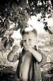 学习一只蠕动的蠕虫的逗人喜爱的小男孩 库存图片