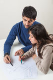 学习与家庭教师 免版税图库摄影