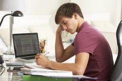 学习在书桌的十几岁的男孩在卧室 图库摄影