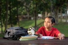 学习在公园的年轻亚裔男孩,当看空的空间时 库存照片