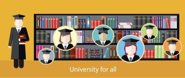 学习在大学的例证图片 免版税库存照片