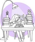 学习在晚上的聪明的女孩睡觉在有书的书桌上-导航例证 免版税库存照片