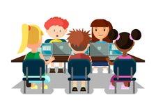 学习在有膝上型计算机横幅的教室的学生 向量例证