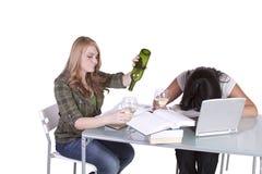 学习在他们的书桌的两个逗人喜爱的女孩 图库摄影