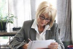 学习文件的成熟成人女商人在办公室。 免版税库存照片