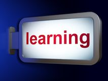 学习概念:学会在广告牌背景 免版税库存照片