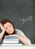 学习疲乏的妇女年轻人的potrait 免版税图库摄影