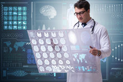学习脑子mri扫描的结果男性医生 库存照片