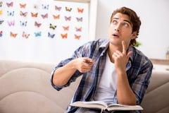 学习蝴蝶的新的种类学生昆虫学家 免版税库存图片